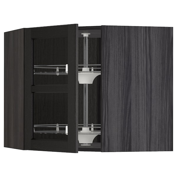 METOD Corner wall cab w carousel/glass dr, black/Lerhyttan black stained, 68x60 cm