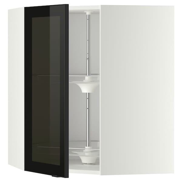 METOD Corner wall cab w carousel/glass dr, white/Jutis smoked glass, 68x80 cm