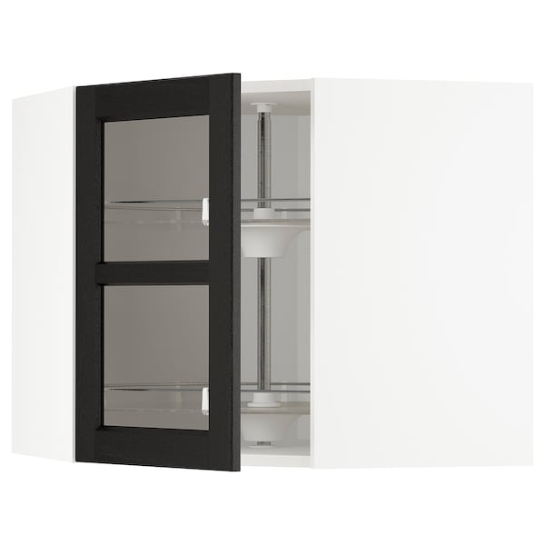 METOD Corner wall cab w carousel/glass dr, white/Lerhyttan black stained, 68x60 cm