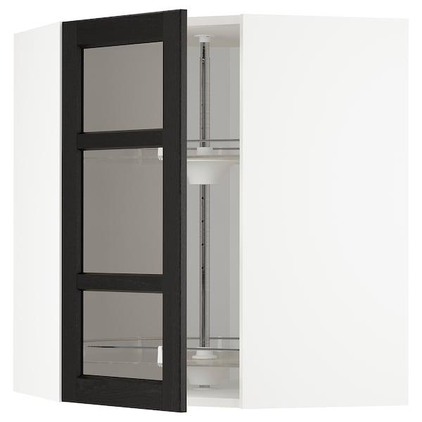 METOD Corner wall cab w carousel/glass dr, white/Lerhyttan black stained, 68x80 cm