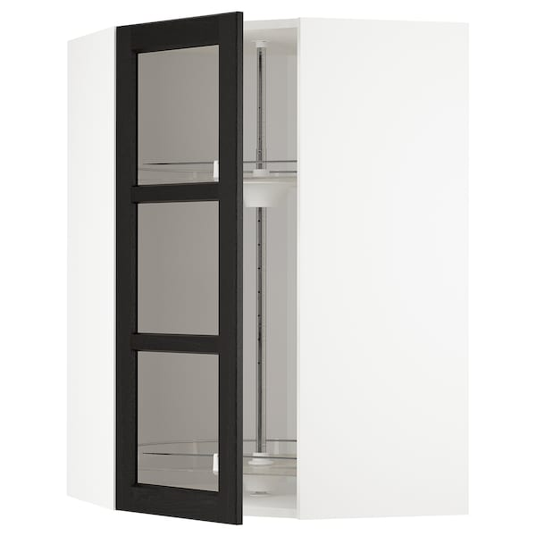 METOD Corner wall cab w carousel/glass dr, white/Lerhyttan black stained, 68x100 cm