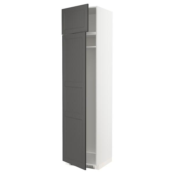 METOD Hi cab f fridge or freezer w 2 drs, white/Axstad dark grey, 60x60x240 cm