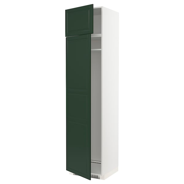 METOD Hi cab f fridge or freezer w 2 drs, white/Bodbyn dark green, 60x60x240 cm