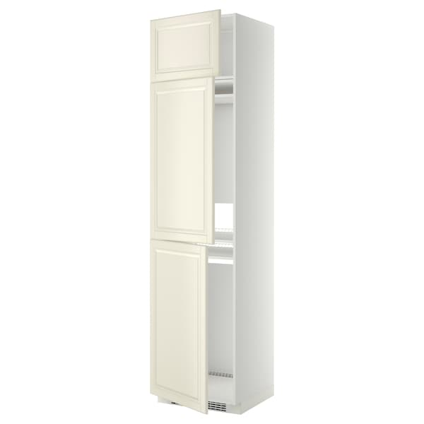 METOD High cab f fridge/freezer w 3 doors, white/Bodbyn off-white, 60x60x240 cm