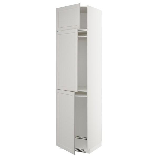 METOD High cab f fridge/freezer w 3 doors, white/Lerhyttan light grey, 60x60x240 cm
