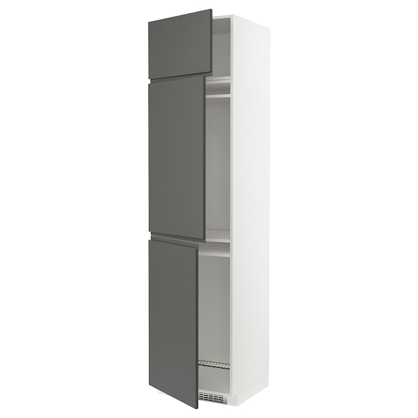 METOD High cab f fridge/freezer w 3 doors, white/Voxtorp dark grey, 60x60x240 cm