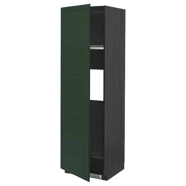 METOD High cab f fridge or freezer w door, black/Bodbyn dark green, 60x60x200 cm
