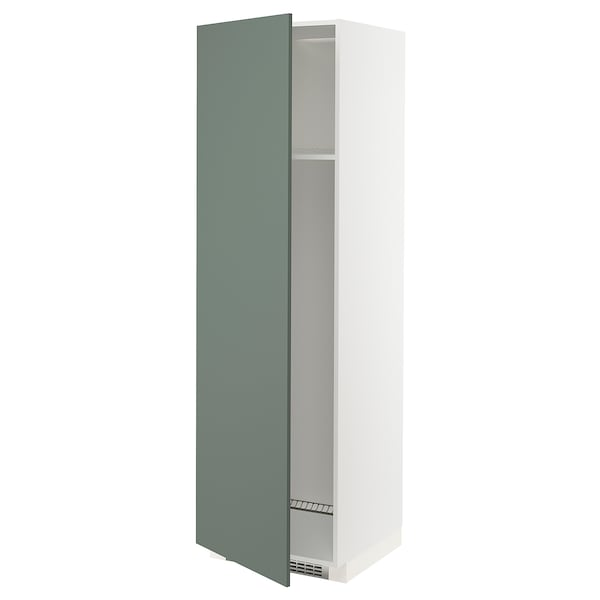 METOD High cab f fridge or freezer w door, white/Bodarp grey-green, 60x60x200 cm