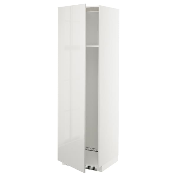 METOD High cab f fridge or freezer w door, white/Ringhult light grey, 60x60x200 cm