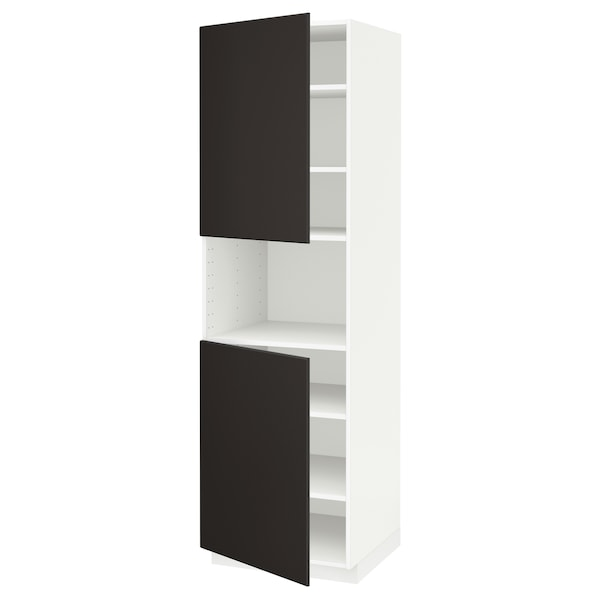 METOD High cab f micro w 2 doors/shelves, white/Kungsbacka anthracite, 60x60x200 cm