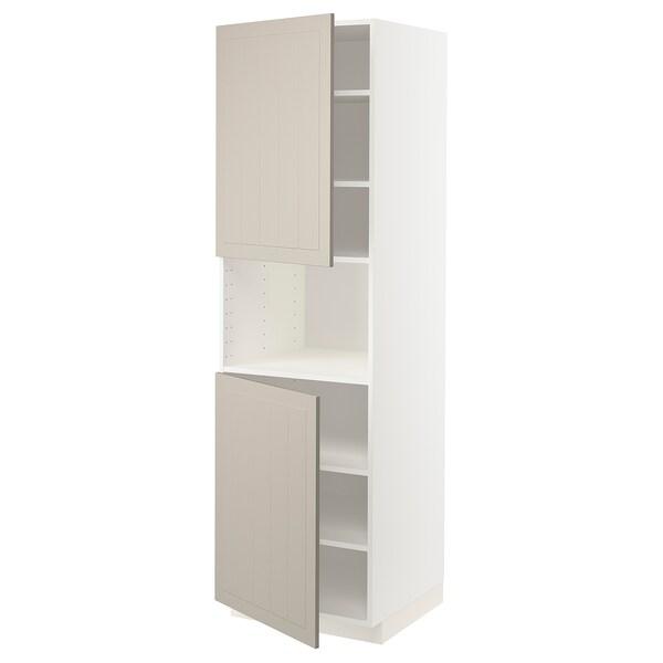METOD High cab f micro w 2 doors/shelves, white/Stensund beige, 60x60x200 cm