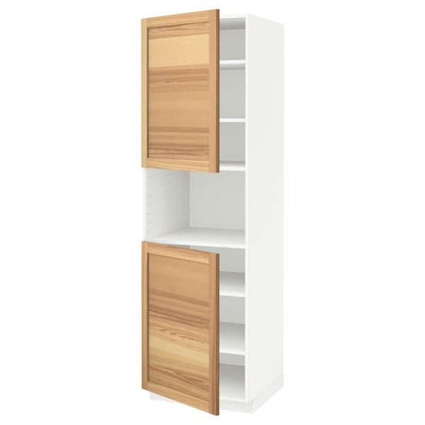 METOD High cab f micro w 2 doors/shelves, white/Torhamn ash, 60x60x200 cm