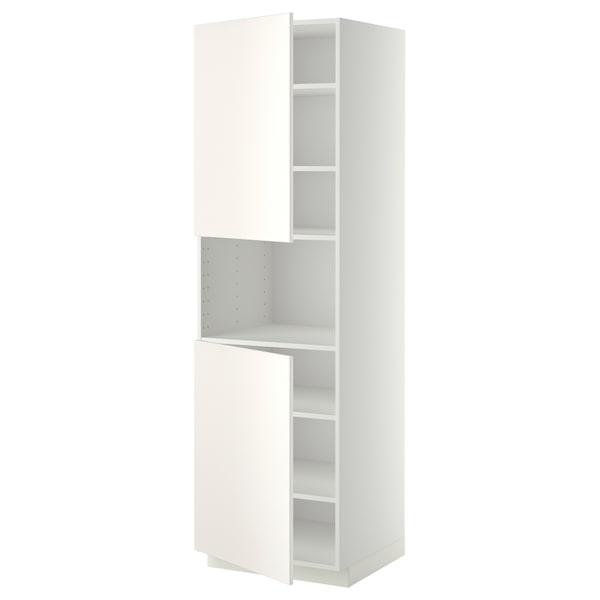 METOD High cab f micro w 2 doors/shelves, white/Veddinge white, 60x60x200 cm