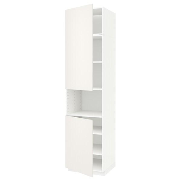 METOD High cab f micro w 2 doors/shelves, white/Veddinge white, 60x60x240 cm