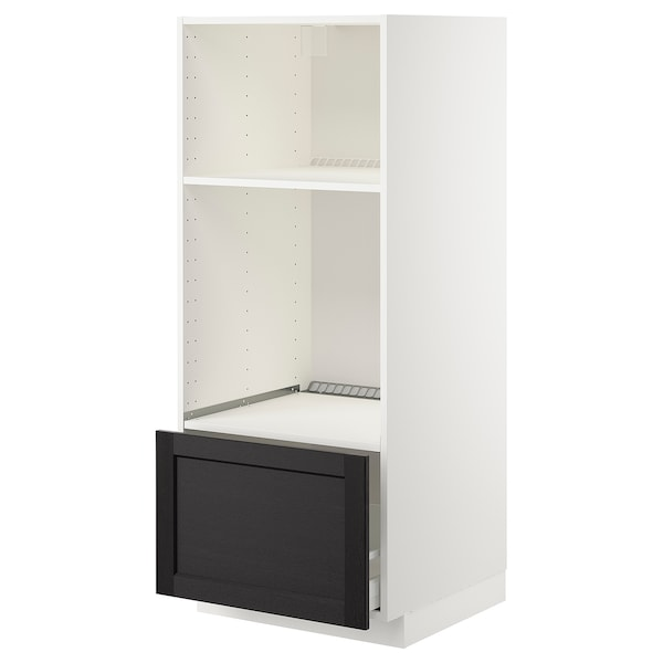METOD High cab for oven/micro w drawer, white/Lerhyttan black stained, 60x60x140 cm