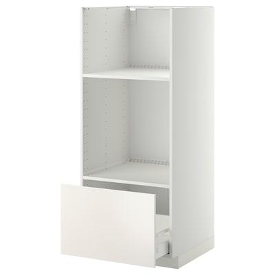 METOD High cab for oven/micro w drawer, white/Veddinge white, 60x60x140 cm