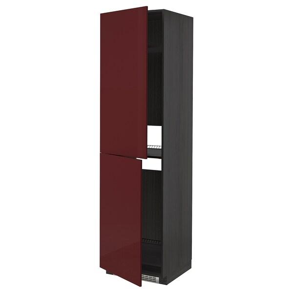 METOD High cabinet for fridge/freezer, black Kallarp/high-gloss dark red-brown, 60x60x220 cm