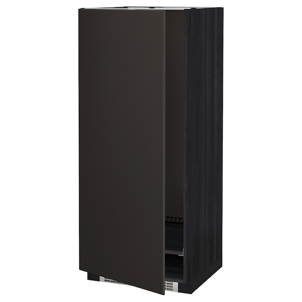 METOD High cabinet for fridge/freezer, black/Kungsbacka anthracite, 60x60x140 cm