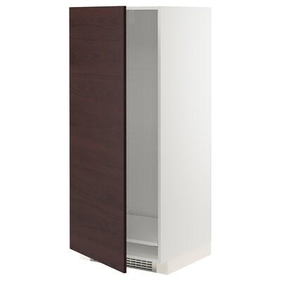 METOD High cabinet for fridge/freezer, white Askersund/dark brown ash effect, 60x60x140 cm