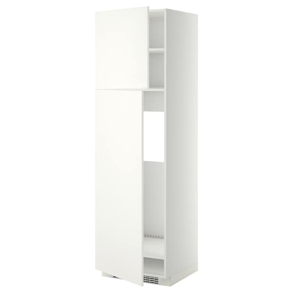 METOD High cabinet for fridge w 2 doors, white/Häggeby white, 60x60x200 cm