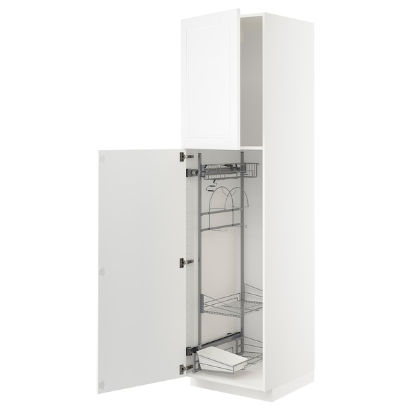 METOD High cabinet with cleaning interior, white/Axstad matt white, 60x60x220 cm