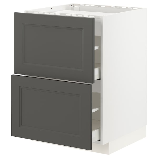 METOD / MAXIMERA Base cab f hob/2 fronts/2 drawers, white/Axstad dark grey, 60x60 cm