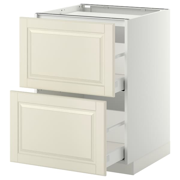 METOD / MAXIMERA Base cab f hob/2 fronts/2 drawers, white/Bodbyn off-white, 60x60 cm