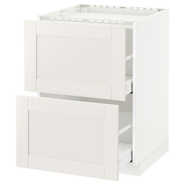 METOD / MAXIMERA Base cab f hob/2 fronts/2 drawers, white/Sävedal white, 60x60 cm