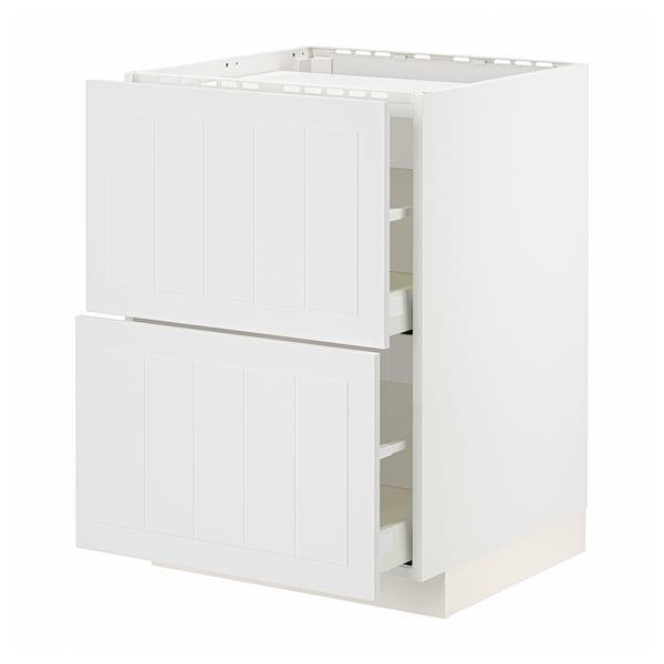 METOD / MAXIMERA Base cab f hob/2 fronts/2 drawers, white/Stensund white, 60x60 cm