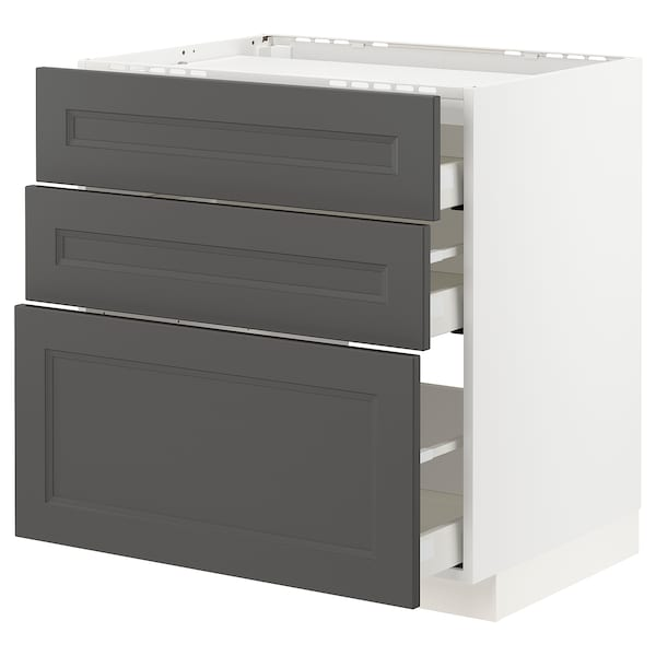 METOD / MAXIMERA Base cab f hob/3 fronts/3 drawers, white/Axstad dark grey, 80x60 cm
