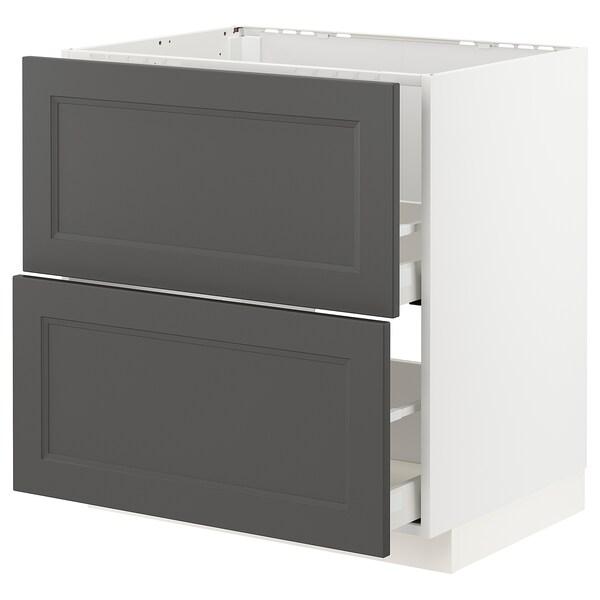 METOD / MAXIMERA Base cab f sink+2 fronts/2 drawers, white/Axstad dark grey, 80x60 cm
