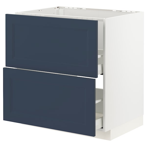 METOD / MAXIMERA Base cab f sink+2 fronts/2 drawers, white Axstad/matt blue, 80x60 cm