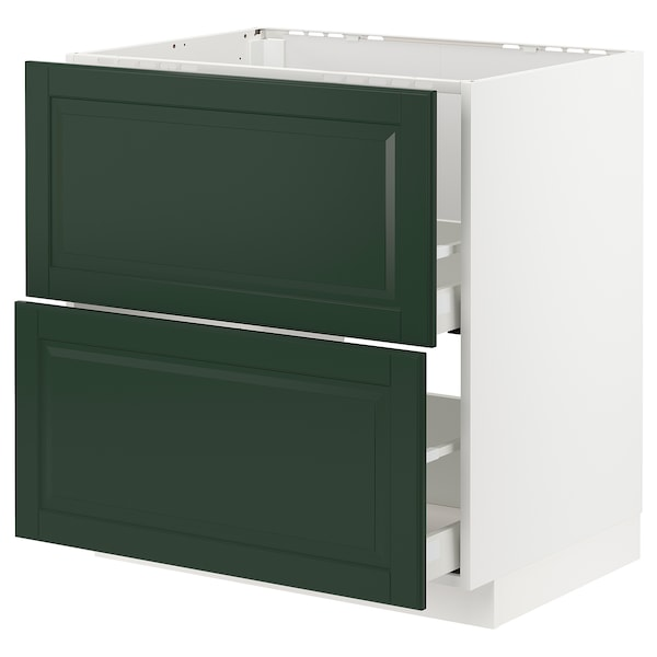 METOD / MAXIMERA Base cab f sink+2 fronts/2 drawers, white/Bodbyn dark green, 80x60 cm