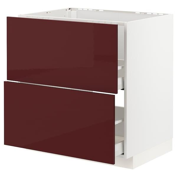 METOD / MAXIMERA Base cab f sink+2 fronts/2 drawers, white Kallarp/high-gloss dark red-brown, 80x60 cm