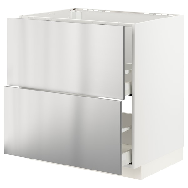 METOD / MAXIMERA Base cab f sink+2 fronts/2 drawers, white/Vårsta stainless steel, 80x60 cm
