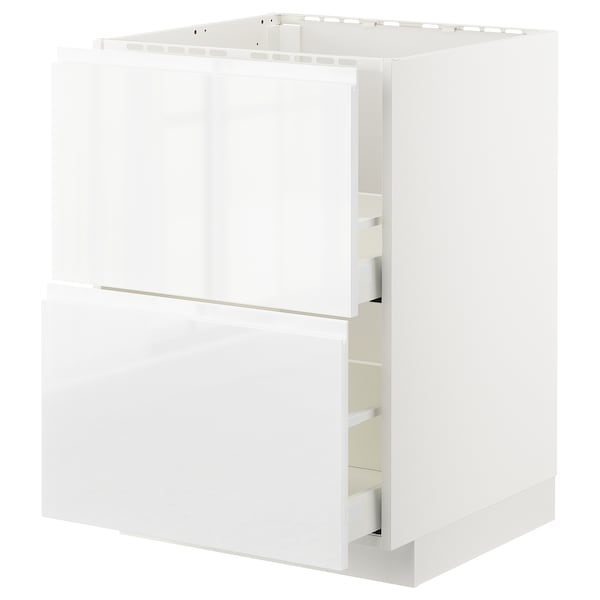 METOD / MAXIMERA Base cab f sink+2 fronts/2 drawers, white/Voxtorp high-gloss/white, 60x60 cm