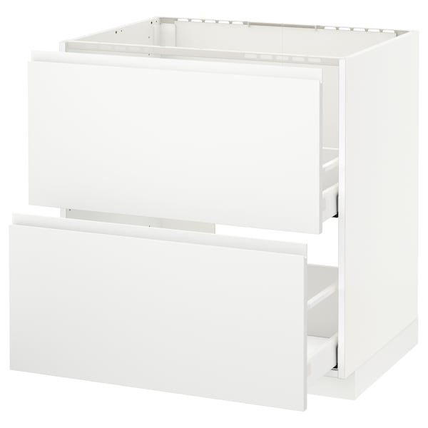 METOD / MAXIMERA Base cab f sink+2 fronts/2 drawers, white/Voxtorp matt white, 80x60 cm