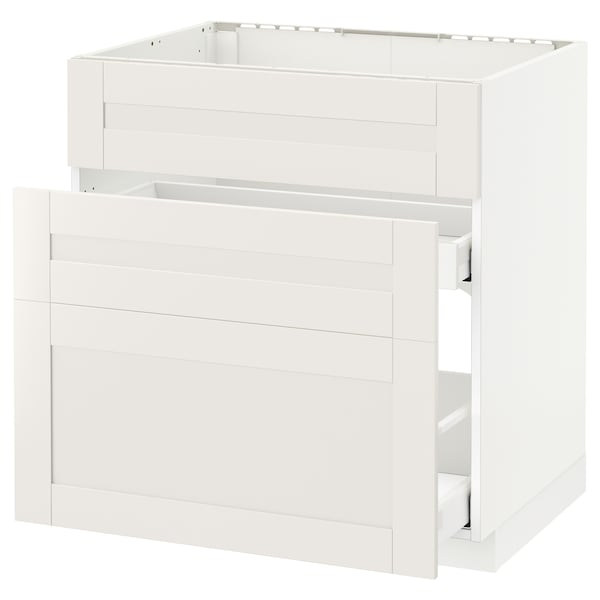 METOD / MAXIMERA Base cab f sink+3 fronts/2 drawers, white/Sävedal white, 80x60 cm