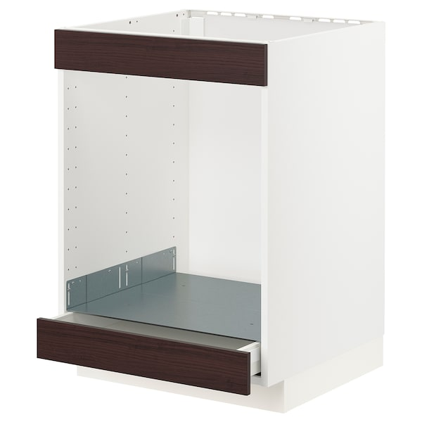METOD / MAXIMERA Base cab for hob+oven w drawer, white Askersund/dark brown ash effect, 60x60 cm