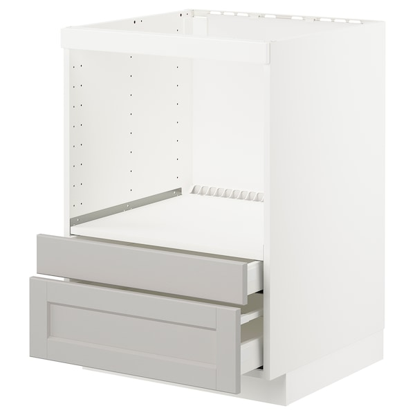 METOD / MAXIMERA Base cabinet f combi micro/drawers, white/Lerhyttan light grey, 60x60 cm