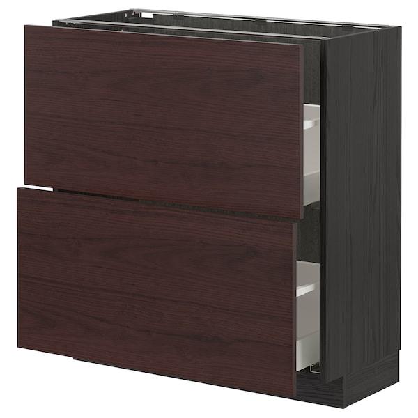 METOD / MAXIMERA Base cabinet with 2 drawers, black Askersund/dark brown ash effect, 80x37 cm