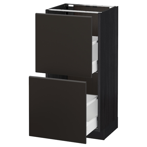 METOD / MAXIMERA Base cabinet with 2 drawers, black/Kungsbacka anthracite, 40x37 cm