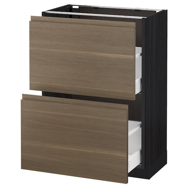 METOD / MAXIMERA Base cabinet with 2 drawers, black/Voxtorp walnut, 60x37 cm