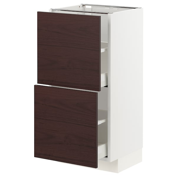 METOD / MAXIMERA Base cabinet with 2 drawers, white Askersund/dark brown ash effect, 40x37 cm