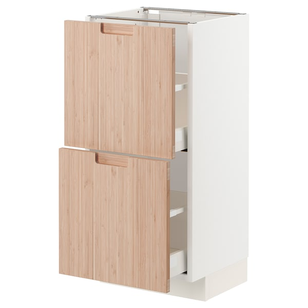 METOD / MAXIMERA Base cabinet with 2 drawers, white/Fröjered light bamboo, 40x37 cm