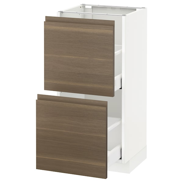 METOD / MAXIMERA Base cabinet with 2 drawers, white/Voxtorp walnut, 40x37 cm