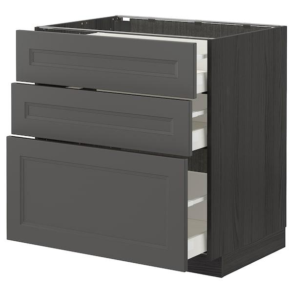 METOD / MAXIMERA Base cabinet with 3 drawers, black/Axstad dark grey, 80x60 cm