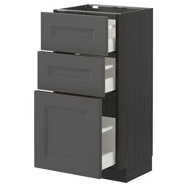 METOD / MAXIMERA Base cabinet with 3 drawers, black/Axstad dark grey, 40x37 cm