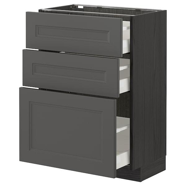 METOD / MAXIMERA Base cabinet with 3 drawers, black/Axstad dark grey, 60x37 cm