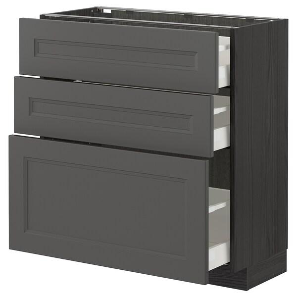 METOD / MAXIMERA Base cabinet with 3 drawers, black/Axstad dark grey, 80x37 cm
